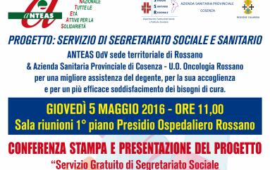 """Rossano (CS): Anteas-CISL – In programma domani la presentazione del progetto """"servizio di segretariato sociale e sanitario"""""""