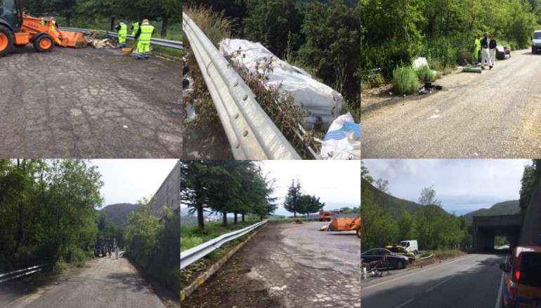 """Calabria – ANAS, #stradepulite: Rimozione rifiuti abbandonati la SS107 """"Silana Crotonese"""""""